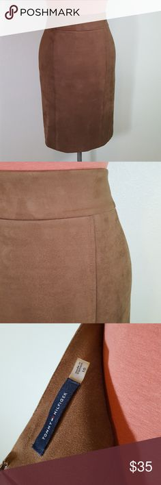 Tommy Hilfiger Vegan Suede Pencil Skirt Extraordinary skirt by Tommy Hilfiger! Feels like butter and hugs you oh so comfortably! Very SLIMMING! Fully lined, back zipper with hook and eye. Tommy Hilfiger Skirts Pencil