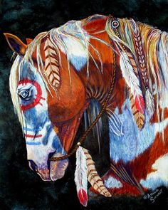 American Indian War Horse all Painted up.