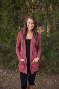 The Pink Lily Boutique - Oh So Simple Pocket Cardigan Burgundy, $35.00 (http://www.thepinklilyboutique.com/oh-so-simple-pocket-cardigan-burgundy/)