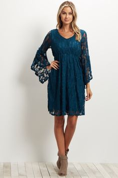 Teal Lace Overlay Slit Bell Sleeve Dress