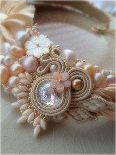 """Perla"" Necklace (detail) by Serena Di Mercione - Pearl, swarovski, shibori silk"