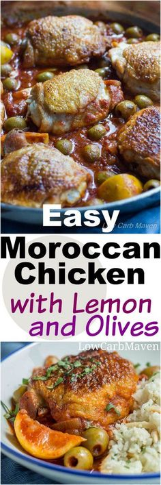 This easy low carb Moroccan Chicken is cooked in 1 pan and flavored with Lemon and Olives This dinner recipe is delicious served over spaghetti squash or cauliflower pilaf. It's low carb, gluten-free, dairy-free, paleo, keto and THM! Low Carb Chicken Recipes, Low Carb Dinner Recipes, Delicious Dinner Recipes, Paleo Recipes, Cooking Recipes, Shabbat Dinner, Moroccan Chicken, Low Carb Maven, Paleo Breakfast