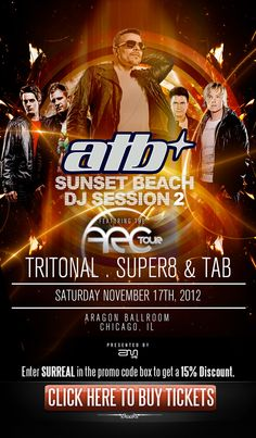 """""""ATB""""      Saturday November 17th, 2012    Ages 17+, 21+ to Drink      For Tables and Minimums Email brian@surrealchicago.com or Text 773-459-8133      Tickets CLICK HERE Enter """"SURREAL"""" for 15% off"""