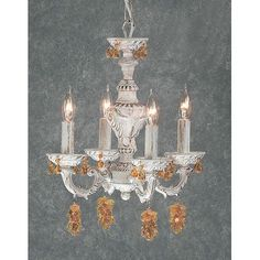 Classic Lighting Gabrielle 4 Light Crystal Chandelier Finish: Antique White, Crystal Type: Swarovski Elements Golden Teak