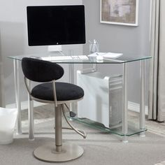 Beam us up, Scotty! This futuristic glass workstation boasts a durable aluminum frame, geometric design, and shelving for your CPU or other equipment. This item comes with a 1-year warranty, too! Its