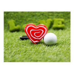 To golfer with love shape and golf ball on green golf games, golf equipment, golf accessories Golf Card Game, Golf Cards, Golf Mk4, Golf Birthday Cards, Dubai Golf, Golf Ball Crafts, Golf Wedding, Wedding Cakes, Golf Photography