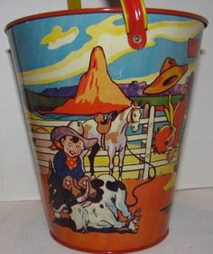 Vintage Western Rodeo Tin Sand Pail made by US Metal Toy Co. Vintage Lunch Boxes, Vintage Tins, Tin Pails, Bucket And Spade, Sand Toys, Beach Toys, Cute Ghost, Metal Toys, Cowboy And Cowgirl