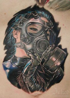 Blue haired gas mask girl by Casey Anderson #InkedMagazine #blue #gasmask #girl #tattoo #tattoos #inked