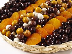 Over 2 1/2 Pounds of dried Turkish Apricots, Mixed Chocolate Espresso Beans, and Dark Chocolate Covered Apricots