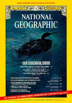 Un ave marina  lleva un abrigo de petróleo de un derrame frente a California en 1969. La revista incluye una serie de  artículos sobre la crisis ecológica , crecientes preocupaciones sobre el estado del medio ambiente, llamando la atención sobre la fragilidad del planeta bajo la presión de la creciente población humana.