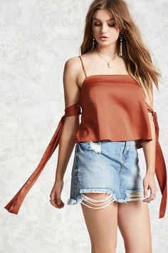 Forever 21 Contemporary - A satin woven top featuring a square neck, an open-shoulder design, self-tie sleeves, adjustable cami straps, and a split back with a button closure.