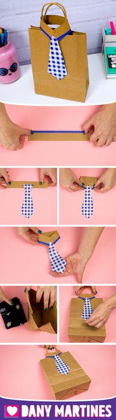 Faça você mesmo uma Sacola com gravata, super fofa, para presentear alguém, dia dos pais, presente, barato, fácil de fazer, gastando pouco, DIY, Do it yourself, Dany Martines