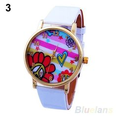 New White Flowers Peace Lady Gift Women Crystal Quartz Wrist Watch #455 #Unbranded #Casual
