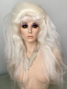 Beehive, Wig, Drag Queen, White Blonde, Auburn, Red