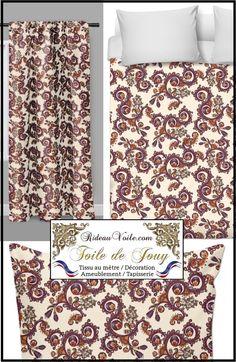 Tissu et voilage toile de jouy fleur au m tre rideau tapisserie si ge tissu toile de jouy - Rideau de cuisine au metre ...