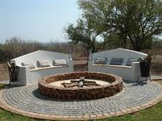 A garden Boma & built in benches.if you have a bit more space available. Built In Bench, Beautiful Park, Outdoor Furniture Sets, Outdoor Decor, English Style, Outdoor Fire, Homesteading, Building, Pretoria
