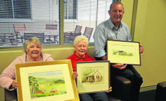 #Murrurundi artist Jean May, #Scone artist Norma Johnston and Upper Hunter Shire mayor Michael Johnsen with some of the works to exhibit in the mayor's office and council chambers. image courtesy The Scone Advocate http://www.sconeadvocate.com.au/story/2346616/landmarks-feature-in-display/?cs=1533