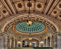 The Chicago Cultural Center - Preston Bradley Hall. This is the largest stained-glass domed ceiling in the world by Tiffany.