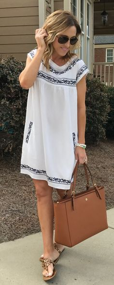 White Printed Dress & Camel Leather Tote Bag