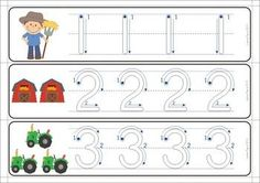 11 Math Centers - Farm {Pre-k & Kindergarten} 111 pages in total. Lots of hands on games and activities to make learning FUN! A page from the unit: Tracing numbers in a write and wipe center. Love the number formation guides!: