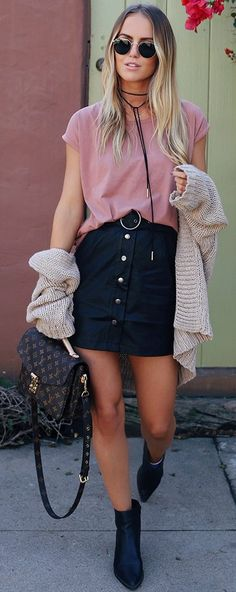#fall #outfit #ideas | Dusty Pink + Black
