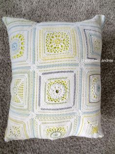 crocheting a round into a square// with embroidery cushion cover