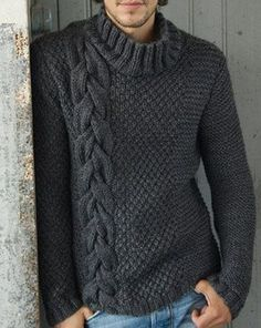 MADE TO ORDER turtleneck Sweater aran men hand knitted sweater cardigan pullover crewneck men clothing handmade men's knitting Hand Knitted Sweaters, Wool Sweaters, Handgestrickte Pullover, Crochet Men, Herren Style, Knit Fashion, Knitting Designs, Pulls, Hand Knitting