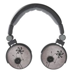 Customizable funny #evil #headphones with the Evil Flower Bug in its vintage reincarnation -  grinning cartoon evil character with sharp teeth holding a flower on dark vintage textured background. It's evil and kind of cute. It loves flowers... loves eating them, in fact. This evil character will make a great gift for someone who loves gothic designs and quirky illustrations. Or just funny creatures.