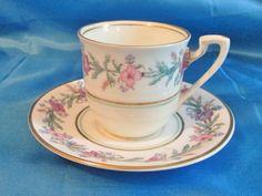 Transferencia de inglés Bone China Demitasse Cup/platillo, rosa flores, oro día…