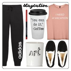 """staycation"" by lovedreamfashion ❤ liked on Polyvore featuring adidas, UGG, Bella Freud, Maybelline and staycation"