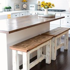 DIY Kitchen Benches These charming farmhouse style kitchen benches are perfect up at your island! They& easy to make, clean, and give you extra seating space! Farmhouse Kitchen Cabinets, Kitchen Benches, Farmhouse Style Kitchen, Modern Farmhouse Kitchens, Kitchen Redo, Home Kitchens, Kitchen Ideas, Vintage Farmhouse, Farmhouse Bench