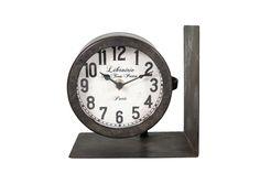 Διακοσμητικά :: Ρολόγια Τοίχου :: Βιβλιοστάτης Με Ρολόι Επιτραπέζιο Μεταλλικό Ανθρακί 16εκ. Decoration, Creations, Clock, Wall, Design, Home Decor, Natural Wood, Pendulum Clock, Dekoration