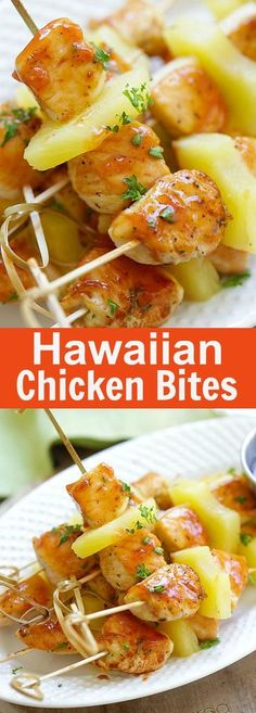 15 party finger foods aperitivos recetas y comida hawaiian chicken bites amazing chicken skewers with pineapple with hawaiian bbq sauce this recipe forumfinder Image collections