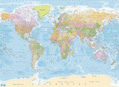 Weltkarte Englisch politisch Foto-Tapete 4-teilig Fototapete Wallpaper 232x315cm