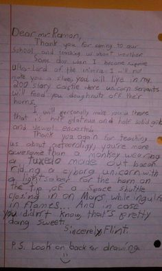 Best Thank you letter ever written. Kids are the best. SO FUNNY! I Smile, Make Me Smile, Best Thank You Notes, Just Keep Walking, Thank You Letter, Look Here, All That Matters, Kids Writing, Creative Writing