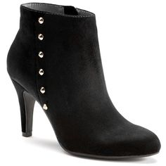LC Lauren Conrad Women's Studded High Heel Ankle Boots ($50) ❤ liked on Polyvore featuring shoes, boots, ankle booties, black, black stilettos, black high heel boots, ankle boots, black stiletto boots and black bootie boots