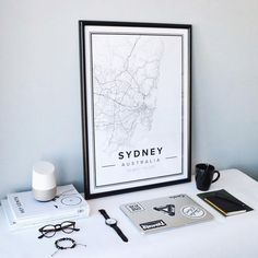 Map poster of Sydney, Australien. Print size 50 x 70 cm available at Mapiful.com