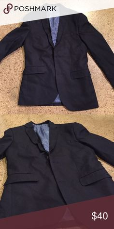 H&M Navy Blazer (38R) This polyester Blazer is an on-trend piece for a great price. H&M offers matching trousers, so this is a great piece for a full suit. Black elbow patches. H&M Suits & Blazers Sport Coats & Blazers