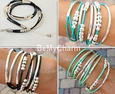 Leather Triple Wrap Boho Bangle Bracelet Leather by BeMyCharm