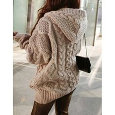 $35.70 Stylish Cable-Knit Hooded Cardigan For Women