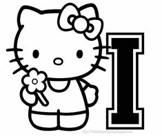 HELLO KITTY COLORING PERSONALIZED PAGE INITIAL LETTER