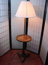 Adorable Floor Lamp Round Table Wood Shade 3 Way Light End Vintage