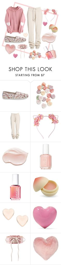"""""""peachy"""" by unimpeachable ❤ liked on Polyvore featuring TOMS, Ivy Park, Essie, TONYMOLY, Ted Baker, Alison Lou, Puma and Nordstrom Rack"""