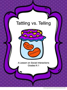 "Guidance lesson on Social Interactions, for Grades K-1.Teach students to know when to ""tell"" and when not to ""tattle."" NEVER create another guidance lesson again with our aligned K-6 guidance lessons! We've got more GUIDANCE LESSON Plans, all which are aligned for grades K-6! Each lesson plan has a Word doc for each grade level and a PDF that includes all interactive activities and printables. Telling 