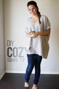 Stay cozy through the rest of the winter with this super easy DIY square top! You only need one cut and two seams- you'll be done in minutes!: