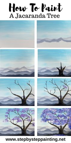 Jacaranda Tree Painting - Step By Step Painting Learn how to paint a Jacaranda tree. This painting tutorial will guide you through the steps on how to paint an easy tree with beautiful purple blossoms. Cute Canvas Paintings, Canvas Painting Tutorials, Easy Canvas Painting, Simple Acrylic Paintings, Diy Painting, Paintings Of Trees, Sillouette Painting, Tree Watercolor Painting, Acrilic Paintings