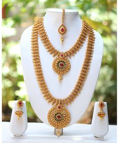One Gram Gold Plated Temple Mango Design Long Short Necklace Bridal Jewelry Gold Wedding Jewelry, Bridal Jewelry, Gold Jewelry, Gold Wedding Shoes, Jewelry Design Earrings, Necklace Designs, Short Necklace, Necklace Set, Gold Necklace