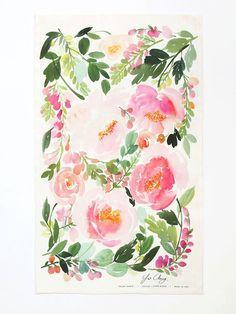 Peony Dance Watercolor Tea Towel