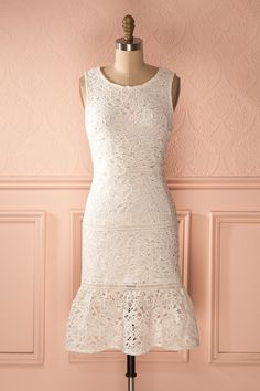 Fabienna - 1920s inspired white lace bridal dress