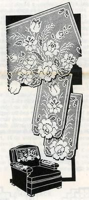 1950s Floral chair set pattern Tulips, rose & daisy in filet crochet.